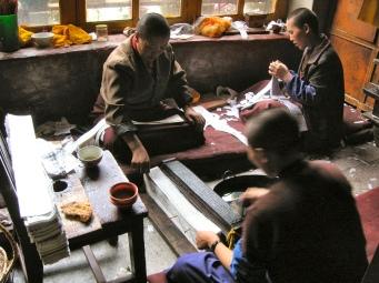 Nunnery printshop - Tibet