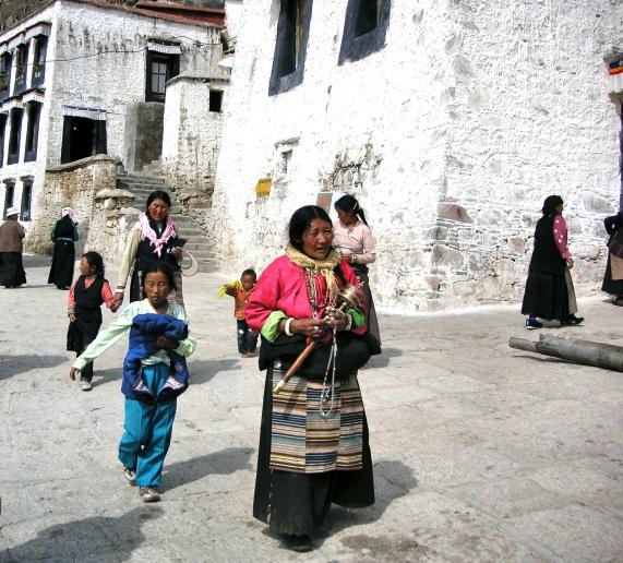 Buddhist pilgrims at Drepung Monastery - Tibet