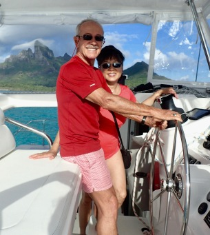 At the helm in Bora Bora
