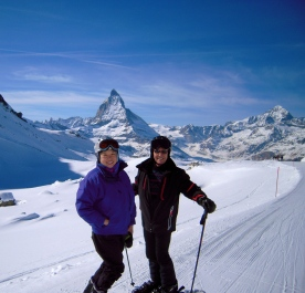Skiing by the Matterhorn in Zermatt