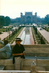 The Taj entrance gate behind Diana