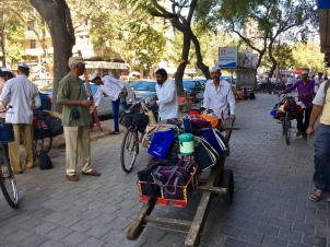 Dabbawalas set out on deliveries